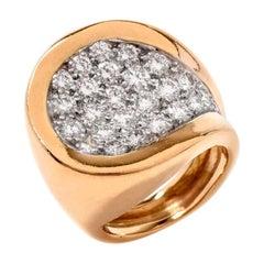 1970s Kutchinsky Diamond 18 Karat Yellow Gold Rin