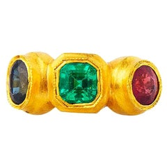24 Karat Gold Handcrafted Roman Style Emerald Ruby and Sapphire Three-Stone Ring