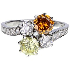 Fancy GIA Cert Orange and Yellow Diamond Gold Cluster Ring