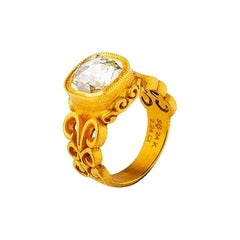 24 Karat Gold Byzantine Inspired Cushion Cut Diamond Solitaire Ring