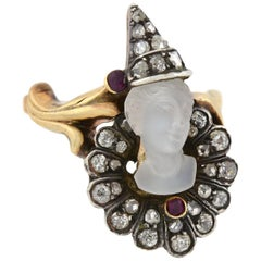 "Art Nouveau Diamond, Moonstone, and Ruby Cameo ""Pierrot Clown"" Ring"
