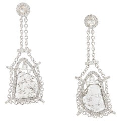 Rose Cut & Slice Diamond 18k White Gold Diva Swing Drop Earrings Manpriya B