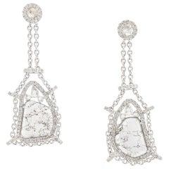 Manpriya B Rose Cut & Slice Diamond 18K White Gold Diva Dangle Drop Earrings