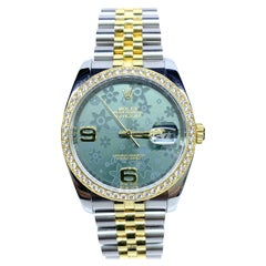 Rolex Datejust Green Floral Dial S.S. 18 Karat Yellow Gold 116243