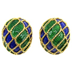 1980s French Blue and Green Enamel 18 Karat Gold Ear Clips