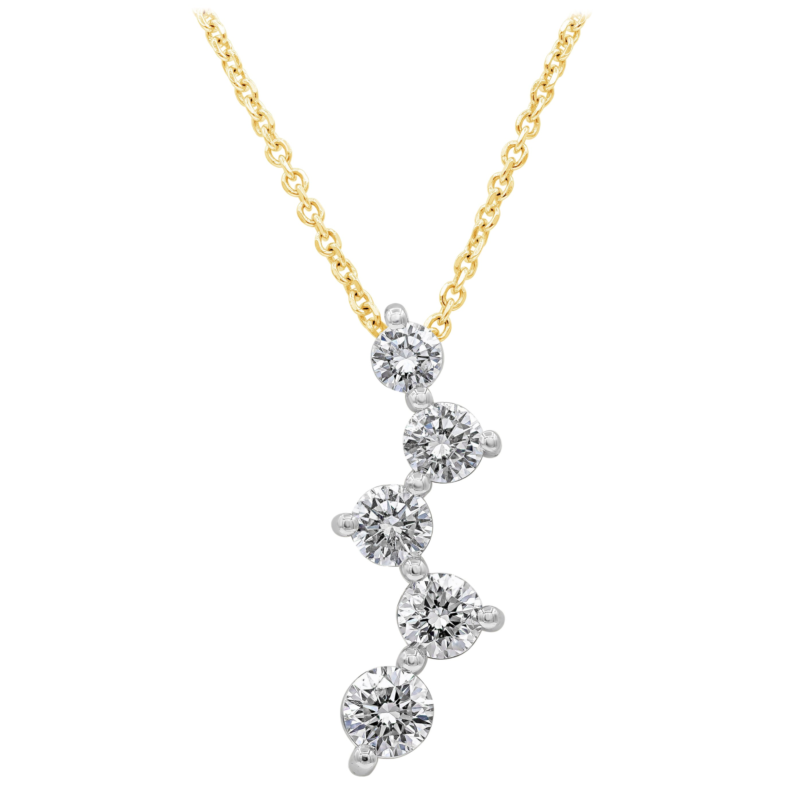 Roman Malakov, Five-Stone Round Diamond Constellation Drop Pendant Necklace
