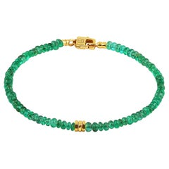 Tateossian Precious Stone Beaded Bracelet - Emerald & 18 Karat Yellow Gold