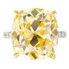 J. Birnbach GIA Certified 14.46 Carat Fancy Intense Yellow Old Mine Diamond Ring
