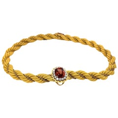 18 Karat Gold Diamond Spessartite Garnet Necklace