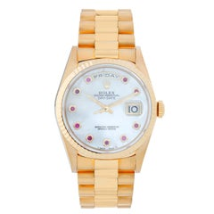 Men's Rolex President Day-Date Watch Mother of Pearl Ruby 18238