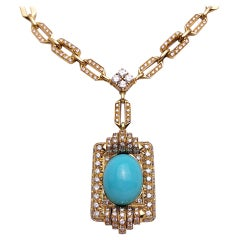 Vintage 18Kt Gold, 9.42ct. Diamond Necklace with a 21.02ct Persian Turquoise