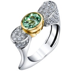 2.14 ct. Tsavorite Garnet, Diamond Pave, White, Yellow Gold Bezel Cocktail Ring