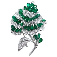Exquisite Handmade Platinum Diamond and Emerald Flower Brooch