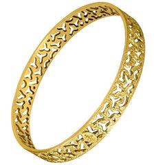 Sterling Silver Gold Hand-Textured Bangle Bracelet
