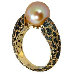Alex Soldier Pearl Hand-Textured Rose Gold Ring One of a Kind