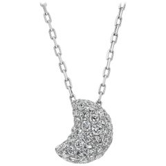 Pavé Diamond Crescent Moon Pendant Necklace