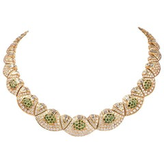 1980s Charming Diamond Tsavorites Gold Choker Necklace