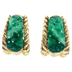 David Webb Carved and Pierced Jade Hammered 18 Karat Yellow Gold Clip Earrings