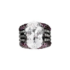 Kunzite and Sapphire Blackened Silver Ring