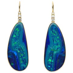 Australian Boulder Opal and 0.30 Carat Diamond Earrings Set in 18 Karat Gold