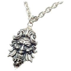 Buccellati Sterling Silver Poseidon Pendant Long Chain Necklace
