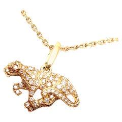 Cartier Panther Diamond Yellow Gold Pendant Necklace