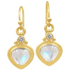 Denise Betesh Tabiz Moonstone White Diamond One of a Kind Drop Earrings