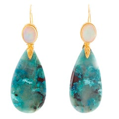 Kimarie Ethiopian Opal and Turquoise, Ironstone and Quartz Drop Earrings