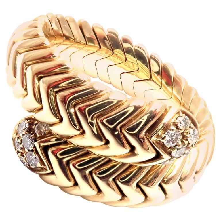 Bulgari Spiga Diamond Snake Yellow Gold Band Ring For Sale