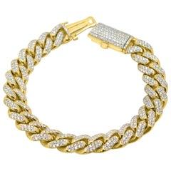 Cuban Link Diamond Bracelet 14 Karat Gold