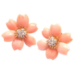 Van Cleef & Arpels Rose de Noel Diamond Coral Flower Yellow Gold Earrings