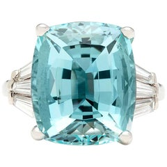 10.80 Carat Cushion Aquamarine and Diamond Ring