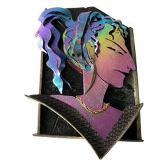 Enid Kaplan Gold Sterling Silver Anodized Niobium Jenny Made Up Her Mind Brooch