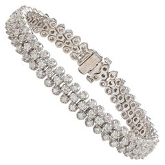 Diamond and White Gold Flexible Strap Bracelet
