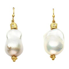South Sea Baroque Pearl and 18 Karat Yellow Gold Bead Earrings Set with Diamonds