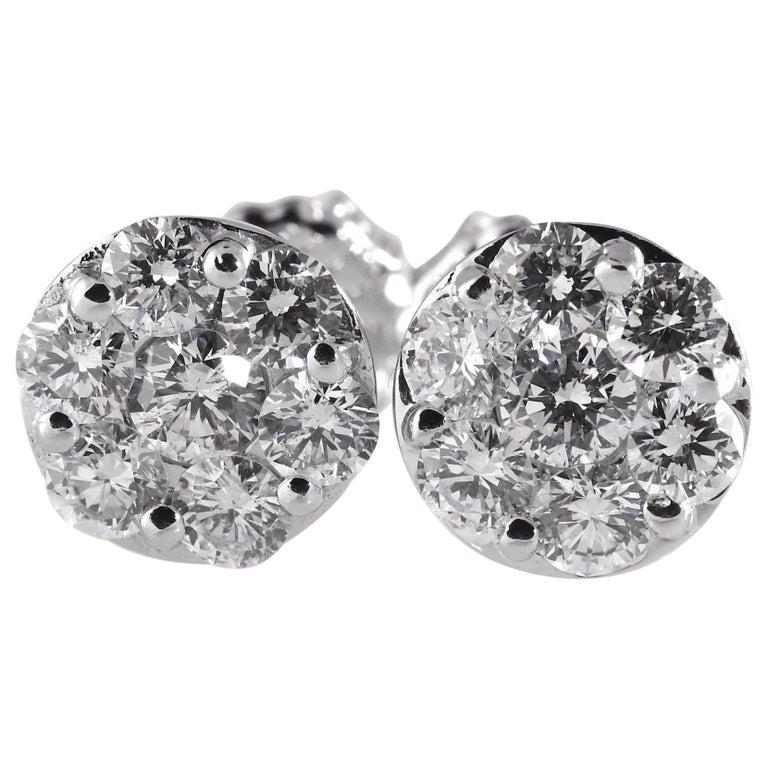 2.0 Carat Total Weight Circular Diamond Earrings 14 Karat White Gold For Sale
