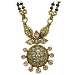 Mangalsutra Diamond Onyx Bead 22 Karat Gold Indian Bridal Handmade Necklace