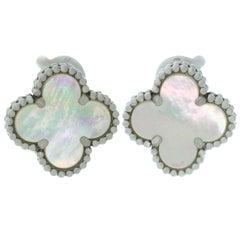 Van Cleef & Arpels Vintage Alhambra Mother of Pearl White Gold Earrings Papers