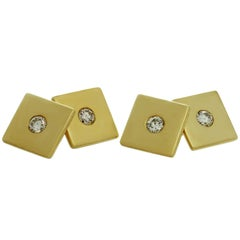 Tiffany & Co. 1940s Diamond Yellow Gold Square Cufflinks