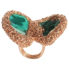 Double Malachite, raw & polished stones set in Rose Gold Statement Cocktail Ring