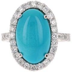 7.55 Carat Turquoise Diamond Cocktail 14 Karat White Gold Ring