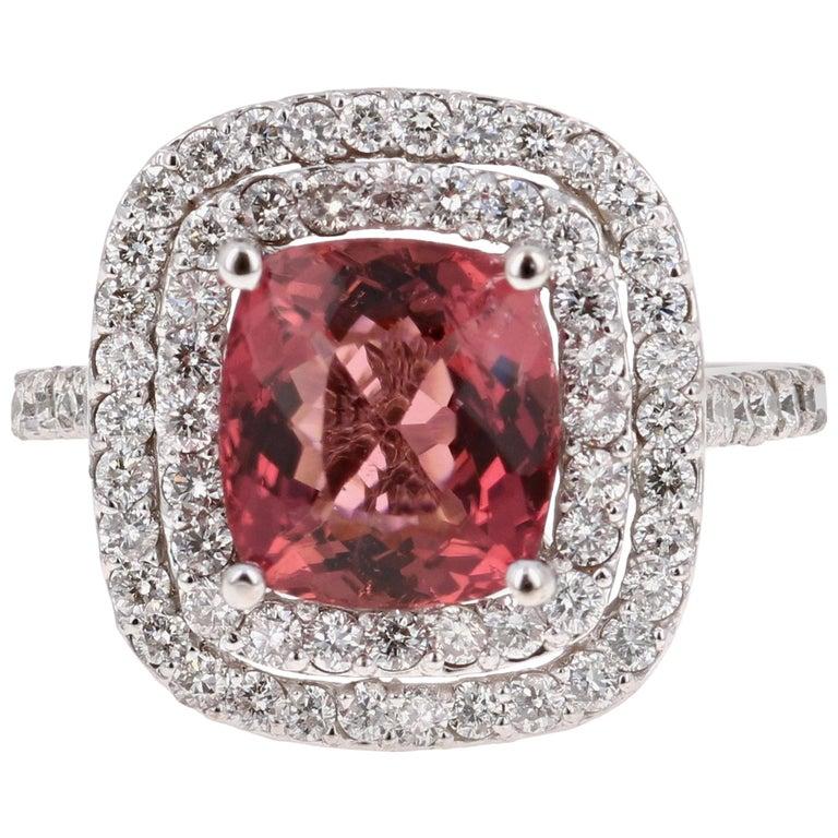 4.50 Carat Tourmaline Diamond 14 Karat White Gold Ring For Sale