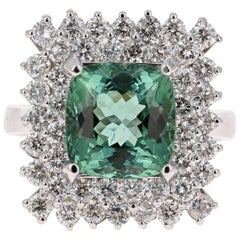6.01 Carat Tourmaline Diamond 14 Karat White Gold Ring