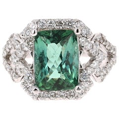 4.81 Carat Tourmaline Diamond 14 Karat White Gold Ring