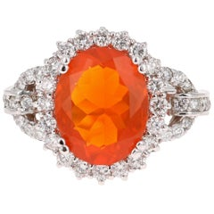 4.01 Carat Fire Opal Diamond 14 Karat White Gold Cocktail Ring