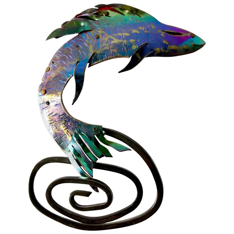 Enid Kaplan Sterling Silver Anodized Niobium Mylar Jumping Fish Brooch For Sale