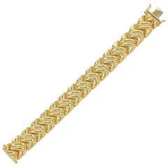 14 Karat Italian Yellow Gold Braided Link Bracelet