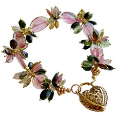 Watermelon Tourmaline Slices Tourmaline Cluster Padlock Heart Bracelet