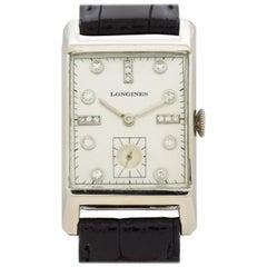 Vintage Longines Rectangular-Shaped 14 Karat White Gold Watch, 1950