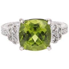 6.25 Carat Peridot Diamond 14 Karat White Gold Ring
